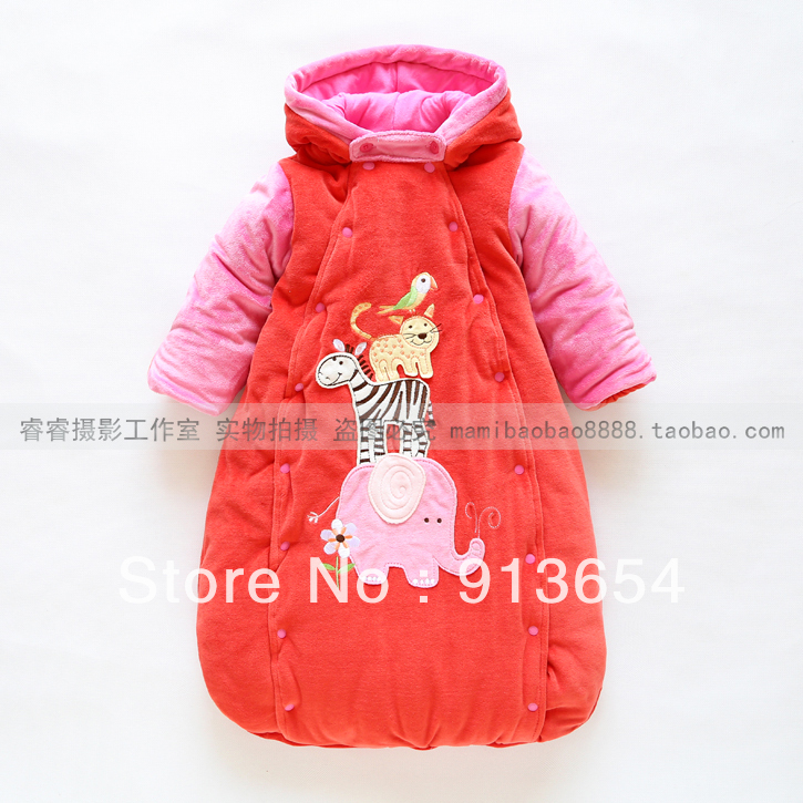 new 2013 child sleeping bag baby winter thermal outerwear baby girls cute animal style velvet warm cotton baby sleeping bags<br>