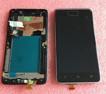 LCD screen display + touch panel digiziter with frame For HTC Desire 400 Silver or black Free shipping