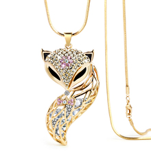 DuoTang New Fox Pendant Necklace Trendy Animal Long Snake Chain Rhinestone Necklaces For Women Jewelry Christmas Gift M0022(China)