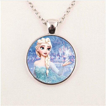 2016 New Fashion Snow Queen Necklace Dairy Queen Jewelry Glass Necklace Glass Cabochon Necklaces Pendants HZ1(China)