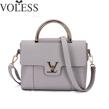 2017 Women V Letters Saffiano handbags Women Leather Commuter Office Ring tote bag Women's Pouch Bolsas Famous Ladys V Flap bag(China)