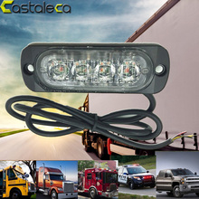 castaleca 12V 4 Led Strobe Warning Light Amber Red Blue Strobe Grille Flashing Lightbar Truck Car Beacon Lamp Slim Bright light(China)
