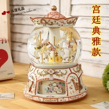 Large carousel music box music box snow crystal ball Sky City Valentine birthday ornaments(China)