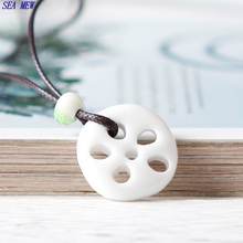 SEA MEW Bohemia Lotus Root Slices Pendant Necklaces Lovers Gift Long Ceramic Necklaces Women Jewelry TC116