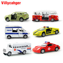 5Pcs/set 1:64 Pull Back Alloy Car Toy Openable Doors mini School Bus Ambulance Diecast Model Xmas Gift Educational Toys for kids(China)