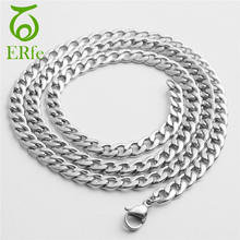 ER Male Rock Flat Stainless Steel Figaro Chain Necklace Boys Blade Curb Link Chains Neckless Men Neck Accessories TN001(China)