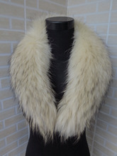 Genuine whole skin light yellow with black hair  Raccoon fur collar / fur scarf/ hot sale 75*15cm