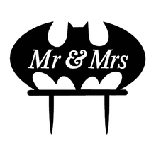 Cartoon Batman Mr Mrs Wedding Cupcake Toppers Acrylic Embrace Romantic Marriage anniversary Cake Decoration Valentine Birthday