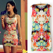 Egelant women dress lovely Floral Print Sleeveless Party Summer Sexy Mini Dress high quality vetement femme vestido curto #yl123