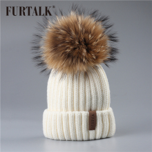 FURTALK Winter hat for Kids Ages 2-7 Knit Beanie winter baby hat for children fur Pom Pom Hats for girls and boys(China)