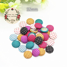 50pcs Mix Colors 12mm Polka-dot Fabric Covered Round Button Flatback Cabochon DIY Handmade Button Scrapbooking,BK1024
