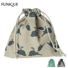 FUNIQUE 15.5x13.5cm Christmas Pouches 2PCs Flower & Bird Pattern Gift Bag Wedding Cotton Linen Drawstring Bags Jewelry Packing