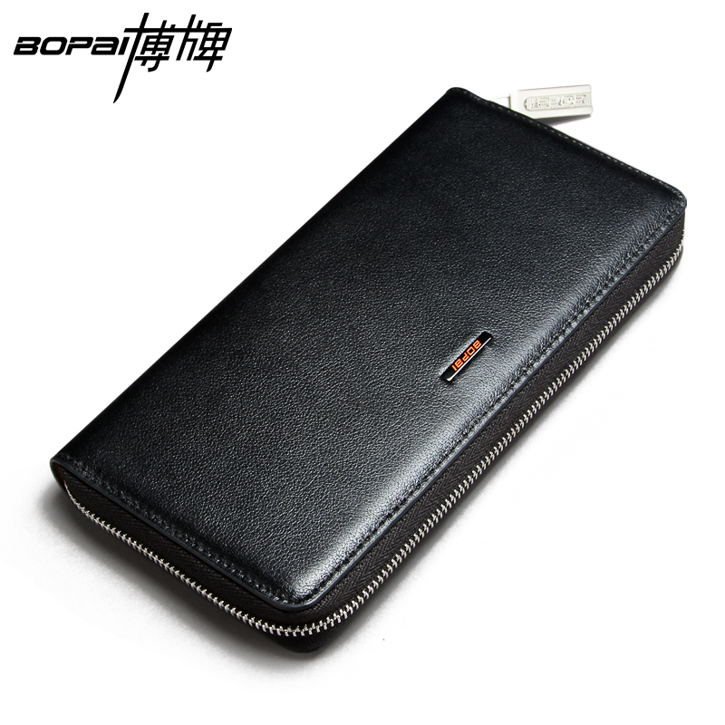 BOPAI Genuine Leather Cowhide Men Wallets Business Mens Purse With Card Holder Fashion Solid Long Wallet Clutch Bag Cow Leather<br><br>Aliexpress