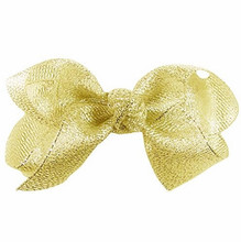 Free Shipping 150pcs/lot Metallic Gold Hair Bow, Gold Glitter Hair Bows for Girls Cheerleaders