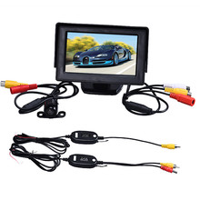 2017 New Free Shipping 4.3 Inch TFT LCD Monitor+Car Reverse Rearview Back Up Camera Wireless Kit Parking Camera Car dvr Hot