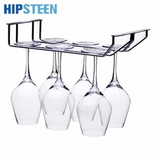 HIPSTEEN 2 Rows Stainless Steel Kitchen Utensil Wine Glass Rack Hanger Bar Home Cup Glass Holder For The Kitchen- Silver(China)