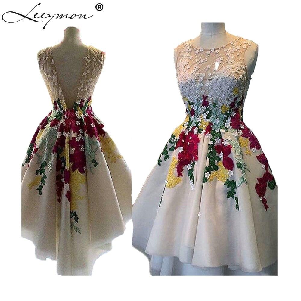 Real Photos Sheer Short Front Long Back Cocktail Dress 2018 Lace Appliques 3D Flowers Homecoming Dress vestidos coctel