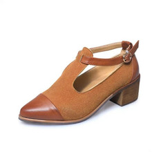 ZCHEKHEN Vintage British designer Women Shoes Mary Jane Modern  Ladies High Heels Brown Shoes Thick Heel shallow Pumps