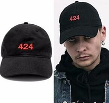 2016 New Popular fashion Embroidered Red 424 Logo baseball Cap Adjustable Snapback hat Black Streetwear 6 panel hats for men