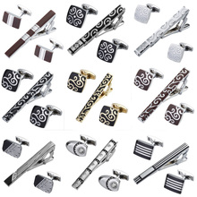 High quality tie clip Cufflinks suit 14 styles of hexagonal design brand men's wedding jewelry Tie Shirt Cufflinks tie clip(China)