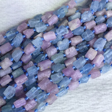 Natural Genuine Raw Mineral Blue Aquamarine Purple Kunzite Nugget Free Form Loose Rough Matte Faceted Beads 5-7mm 05378(China)