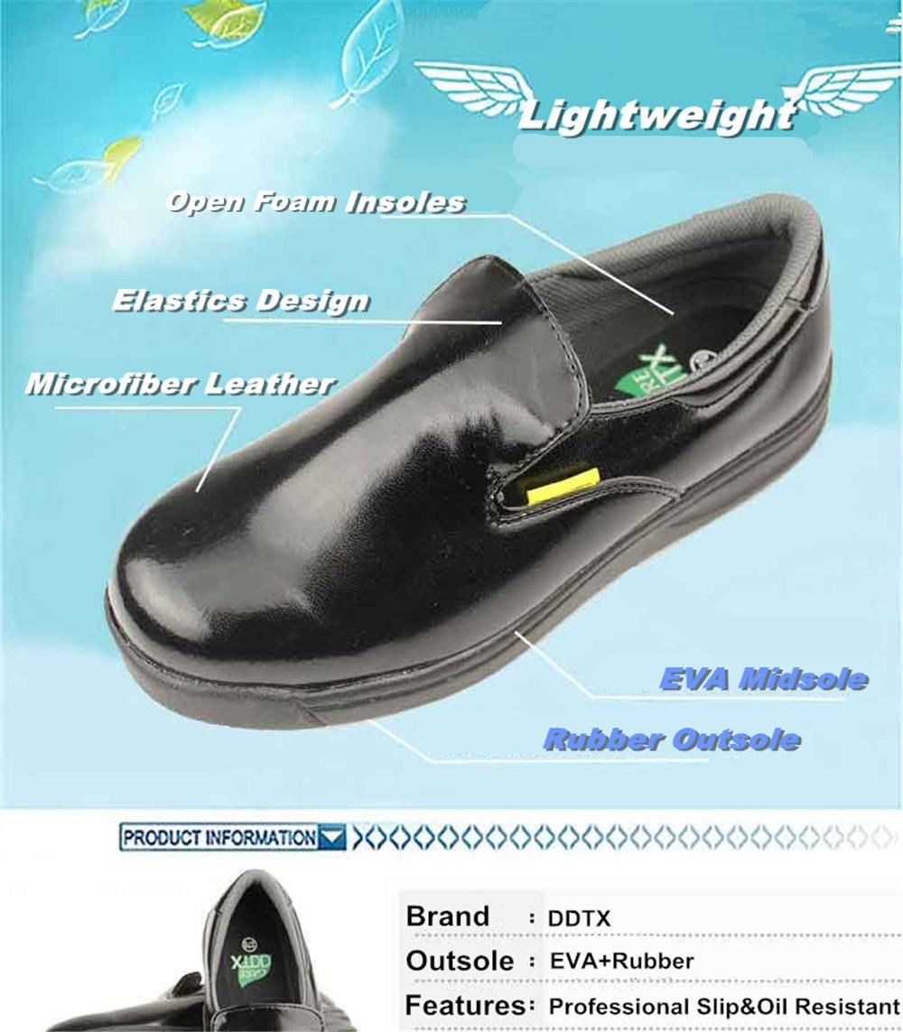 DDTX Work Kitchen Chef Shoes Unisex SRC Anti-Slip Oil and Water Resistant Lightweight Black 8US
