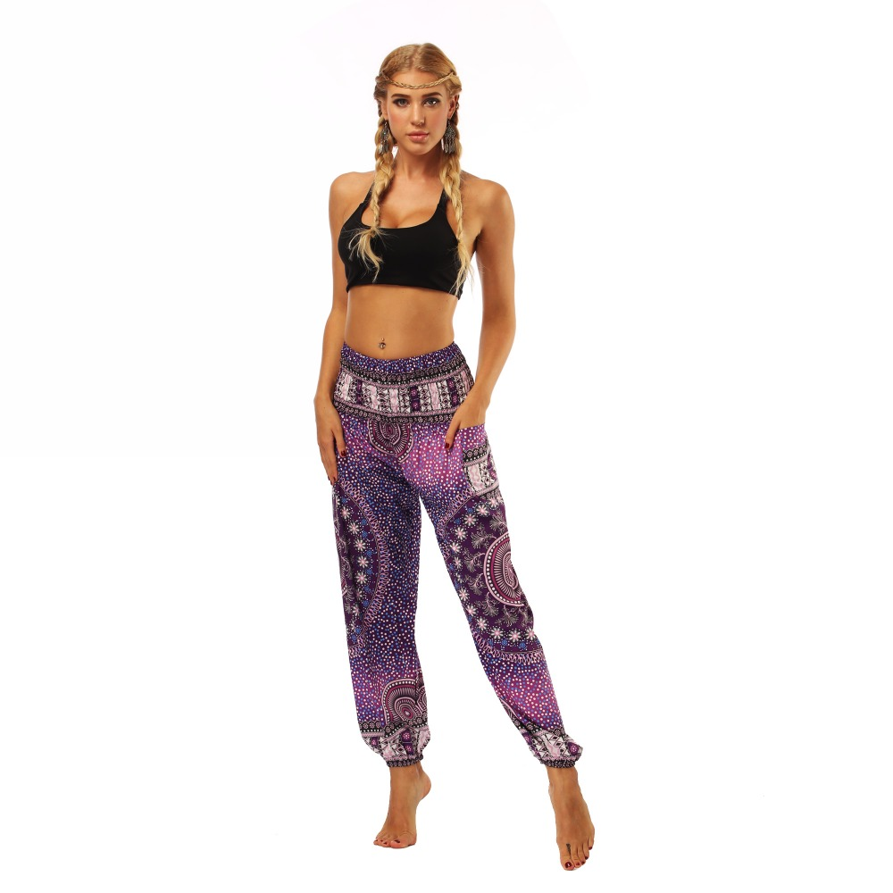 TL005- Purple galaxy floral wide leg loose yoga pant leggings (3)
