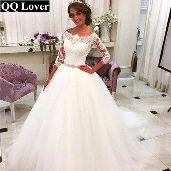 2017 Saudi Arabia Vestido De Noiva 2017 Lace Three Quarter Muslim Wedding Dresses Bridal gown Tulle Ball Gown Wedding Dress