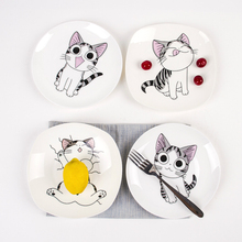 8 Inch Creative Bone China Tableware Plate Lovely Cartoon Dish for Domestic Ceramic Ware Breakfast Fruit Steak Plate