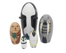 New Quality 5 Pieces Of Whale dolphin sea lion penguin Beautiful Wooden Russian Nesting Dolls for Kids' Gifts Toy