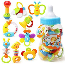 2017 9PCS Rattles Kids Toys Chidren's Baby Toys Giant Milk Bottle Grasp 9pcs teether hanging strollers sound toys christmas gift