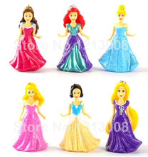 6PCS Cheap Hot Toys Snow White Rapunzel Little Mermaid Princess Doll House Toys Accessories Decorating For Children Girls boneca