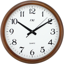 Wooden Wall Clock Quiet Silent Clock Wood Classic Large Roma Numeral Desktop Clock 16 Inch Needle Battery Operated Clock(China)