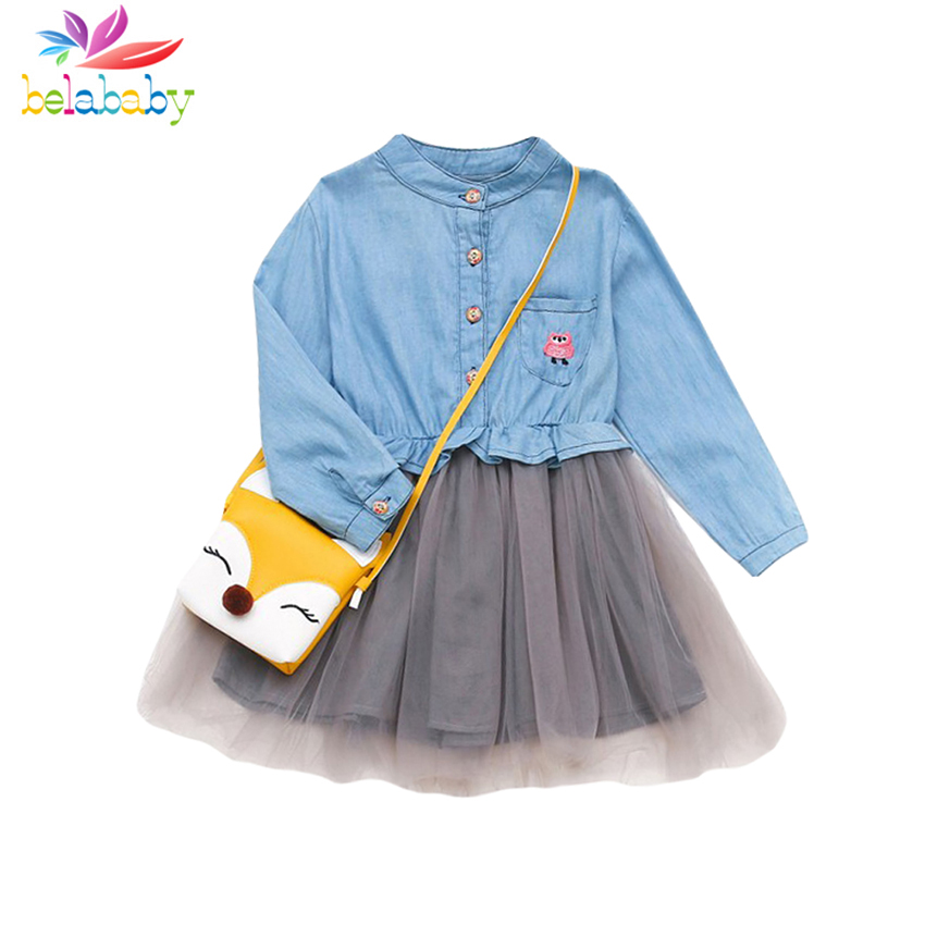 Belababy Toddler Dress  2018 Baby Girls New Spring Denim Button Ball Gown Print Princess Costume Long Sleeve Mesh Clothes