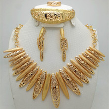 Women Wedding Bridal Costume Jewelry Sets  gold-color  Dubai African Fashion Elegant Romantic wholesale Customer designs