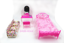 Free Shipping Doll Bed Furniture girls birthday gift dressing table for doll Baby Flower Cloth Sofa For Barbie Doll House Toys(China)