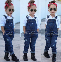 2017 Fashion girl's clothing set for spring children set baby girl denim suit cotton long sleeve shirt+denim bib pants/jeans