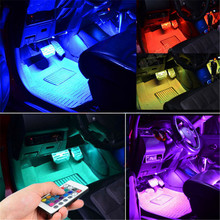 Car RGB LED Strip Light Decorative Atmosphere Lamp For Ford Focus 2 3 Fiesta Mondeo Fusion Kuga Transit Ranger Mustang Ecosport(China)