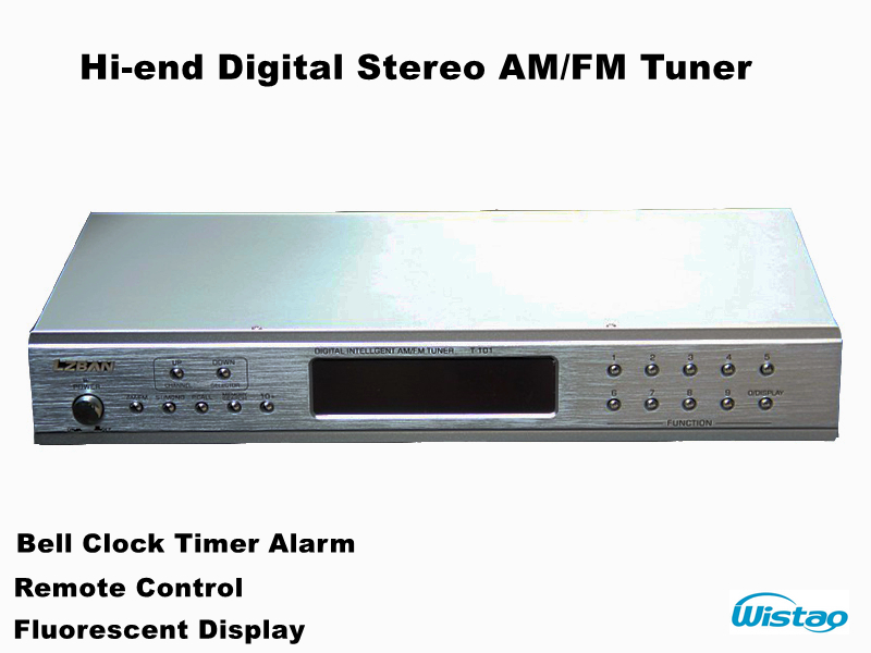 Hi-end Digital Stereo AM/FM Tuner 60 Radio Storage Bell Clock timer Alarm Fluorescent Display Silver(China (Mainland))