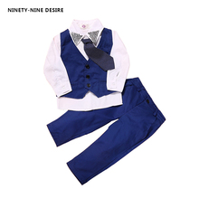 3pieces set autumn 2017 children leisure clothing sets kids baby boy suit vest gentleman clothes for weddings formal clothing