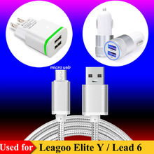 US / EU AC Plug Charger, 2-Port USB Car Charger for Leagoo Elite Y / Lead 6 Micro 2.0 USB 5Pin Charging Sync Data Cable