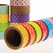 10 PCS Candy Color Polka Dots Masking Tape Washi Packing Adhesive Tape Stationery Decorative Paper Tape Multicolor Random