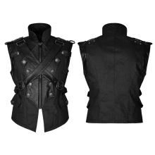 Rock Punk Leather Military Uniform Cross Belt Vest Men Gothic Handsome Sleeveless Vest Jackets Black Color Men's Clothes