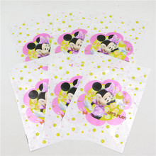 Decorations Plastic Handle Cookie Loot Gift Bags Minnie Mouse Printed Birthday Party Supplies For Kids Lot Of 10