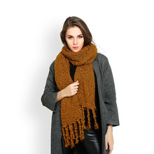 New fashion women solid color plain mohair scarf with tassel lady winter thick warm pashmina scarves designer high quality shawl