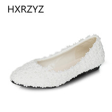 Spring and autumn new fashion women shoes handmade ladies pearl white lace flowers wedding shoes sexy comfortable bridal shoes