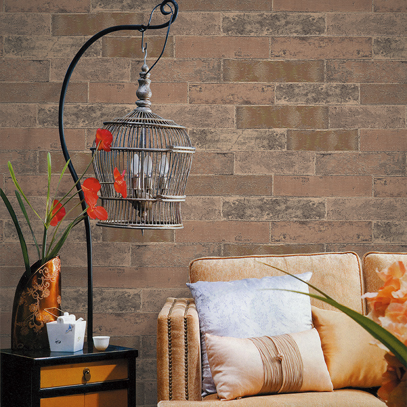 Beibehang Modern Chinese Brick Wallpaper Antique Dormitory Restaurant Bar KTV Backdrop Red Brick Nonwovens 3d Wallpaper roll<br>