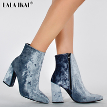 LALA IKAI Velvet Ankle Boots For Women Pointed Toe 9.5CM High Heel Boots Fashion Winter Shoes Women 014N1249-4(China)
