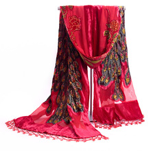 2015 NEW Red Chinese Style Women's Handmade Embroidery Velvet Silk Beaded Shawl Scarf Wrap Scarves Peafowl Free Shipping
