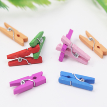 D&D 20pcs Colorful Mini Wooden Clip Photo Clips DIY Home Crafts Decoration Accesories